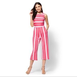 New York & Co Stripped Culotte Jumpsuit